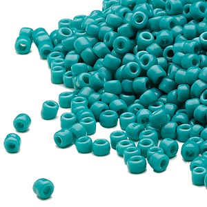 seed bead, dyna-mites™, glass, opaque turquoise blue, #8 round. sold per 40-gram pkg.