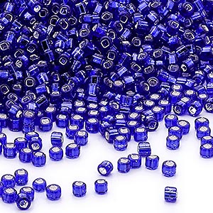 seed bead, dyna-mites™, glass, silver-lined translucent cobalt, #11 round with square hole. sold per 40-gram pkg.