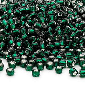 seed bead, dyna-mites™, glass, silver-lined translucent dark green, #6 round. sold per 40-gram pkg.