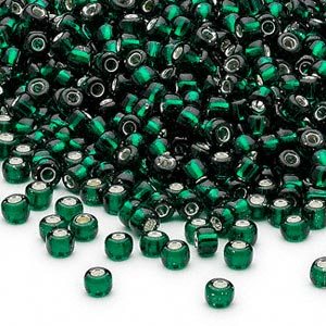 seed bead, dyna-mites™, glass, silver-lined translucent dark green, #8 round. sold per 40-gram pkg.