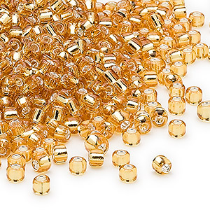 seed bead, dyna-mites™, glass, silver-lined translucent gold, #8 round. sold per 40-gram pkg.