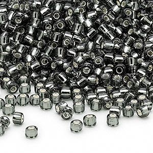 seed bead, dyna-mites™, glass, silver-lined translucent gunmetal, #8 round. sold per 40-gram pkg.