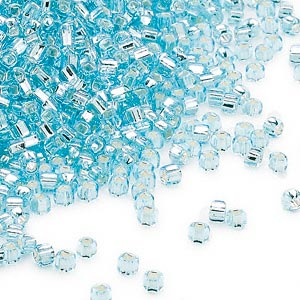 seed bead, dyna-mites™, glass, silver-lined translucent light aqua, #11 round with square hole. sold per 40-gram pkg.