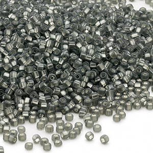 seed bead, dyna-mites™, glass, silver-lined translucent matte gunmetal, #11 round with square hole. sold per 1/2 kilogram pkg.