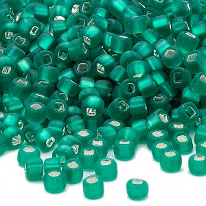 seed bead, dyna-mites™, glass, silver-lined translucent matte jade green, #6 round with square hole. sold per 40-gram pkg.