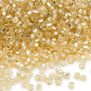 seed bead, dyna-mites™, glass, silver-lined translucent matte light gold, #11 round with square hole. sold per 40-gram pkg.