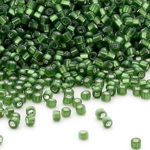 seed bead, dyna-mites™, glass, silver-lined translucent matte olive green, #11 round with square hole. sold per 40-gram pkg.