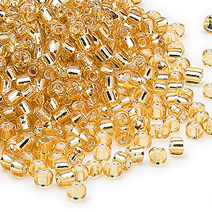 seed bead, dyna-mites™, glass, silver-lined translucent medium gold, #8 round. sold per 1/2 kilogram pkg.