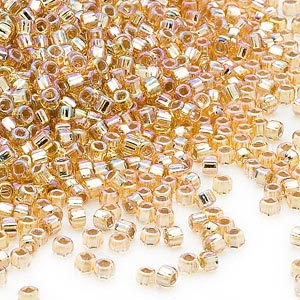 seed bead, dyna-mites™, glass, silver-lined translucent rainbow gold, #11 round with square hole. sold per 40-gram pkg.