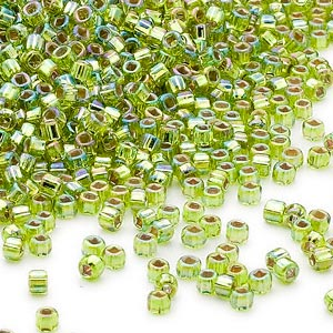 seed bead, dyna-mites™, glass, silver-lined translucent rainbow light green, #11 round with square hole. sold per 40-gram pkg.