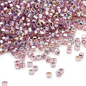 seed bead, dyna-mites™, glass, silver-lined translucent rainbow light purple, #11 round with square hole. sold per 40-gram pkg.