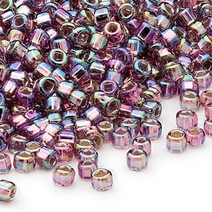 seed bead, dyna-mites™, glass, silver-lined translucent rainbow light purple, #6 round with square hole. sold per 40-gram pkg.