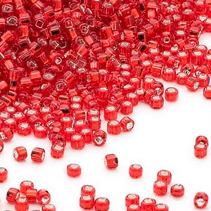 seed bead, dyna-mites™, glass, silver-lined translucent red, #11 round with square hole. sold per 40-gram pkg.