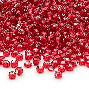 seed bead, dyna-mites™, glass, silver-lined translucent red, #8 round. sold per 40-gram pkg.