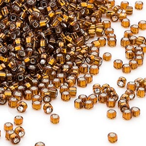 seed bead, dyna-mites™, glass, silver-lined translucent root beer, #11 round with square hole. sold per 1/2 kilogram pkg.