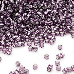seed bead, dyna-mites™, glass, silver-lined transparent purple, #11 round with square hole. sold per 1/2 kilogram pkg.