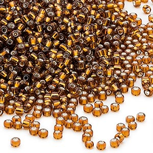 seed bead, dyna-mites™, glass, silver-lined transparent root beer, #11 round. sold per 40-gram pkg.