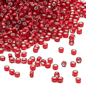seed bead, dyna-mites™, glass, silver-lined transparent ruby red, #11 round. sold per 1/2 kilogram pkg.