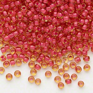 seed bead, dyna-mites™, glass, translucent inside color fuchsia, #8 round. sold per 40-gram pkg.