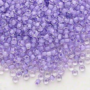 seed bead, dyna-mites™, glass, translucent inside color lilac, #8 round. sold per 40-gram pkg.