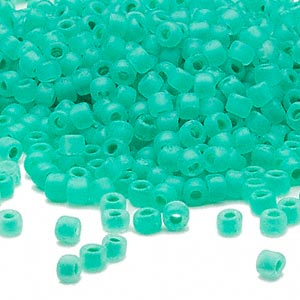seed bead, dyna-mites™, glass, translucent matte inside color sea foam, #6 round. sold per 40-gram pkg.