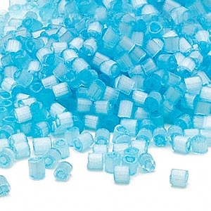 seed bead, dyna-mites™, glass, translucent silk light blue, #6 round. sold per 40-gram pkg.