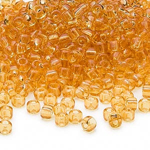 seed bead, dyna-mites™, glass, transparent amber, #6 round. sold per 1/2 kilogram pkg.