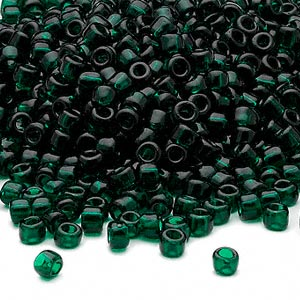 seed bead, dyna-mites™, glass, transparent dark green, #6 round. sold per 40-gram pkg.
