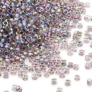 seed bead, dyna-mites™, glass, transparent inside color rainbow peacock, #11 round. sold per 1/2 kilogram pkg.