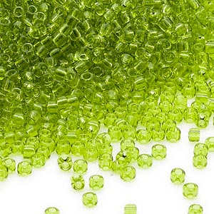 seed bead, dyna-mites™, glass, transparent light green, #11 round. sold per 40-gram pkg.