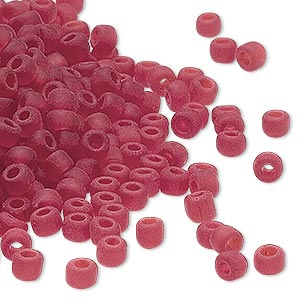 seed bead, dyna-mites™, glass, transparent matte ruby red, #6 round. sold per 40-gram pkg.
