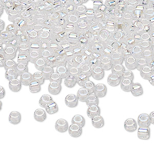 seed bead, dyna-mites™, glass, transparent rainbow clear, #6 round. sold per 1/2 kilogram pkg.