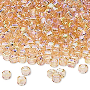 seed bead, dyna-mites™, glass, transparent rainbow cream soda, #6 round. sold per 40-gram pkg.