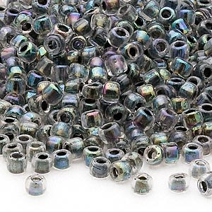 seed bead, dyna-mites™, glass, transparent rainbow inside peacock, #6 round. sold per 40-gram pkg.