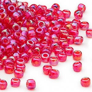 seed bead, dyna-mites™, glass, transparent rainbow ruby red, #6 round. sold per 1/2 kilogram pkg.