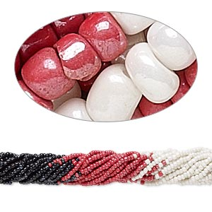 seed bead, glass, opaque luster black / red / white, #6 round. sold per pkg of (10) 16-inch strands, approximately 1,300 beads.