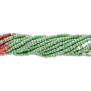 seed bead, glass, opaque luster red / green / white, #11 round. sold per pkg of (10) 16-inch strands.