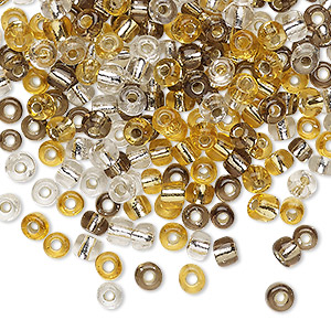 seed bead, glass, silver-lined translucent clear / gold / grey, #6 round. sold per 20-gram vial.