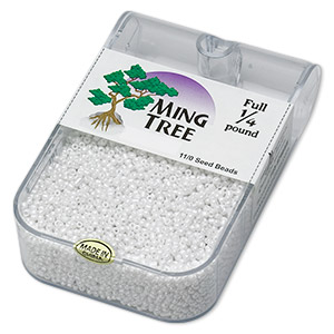seed bead, ming tree™, glass, opaque luster white, #11 round. sold per 1/4 pound pkg.