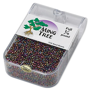 seed bead, ming tree™, glass, opaque rainbow gold purple, #11 round. sold per 1/4 pound pkg.