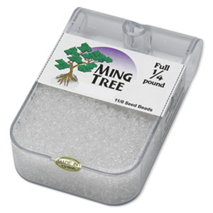 seed bead, ming tree™, glass, transparent clear, #11 round. sold per 1/4 pound pkg.