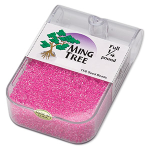 seed bead, ming tree™, glass, transparent color-lined hot pink, #11 round. sold per 1/4 pound pkg.