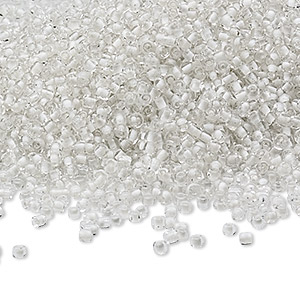 seed bead, ming tree™, glass, transparent color-lined white, #11 round. sold per 1-pound pkg.