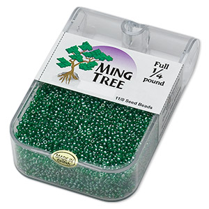seed bead, ming tree™, glass, transparent luster emerald green, #11 round. sold per 1/4 pound pkg.