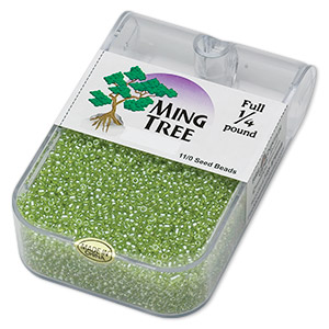 seed bead, ming tree™, glass, transparent luster lime green, #11 round. sold per 1/4 pound pkg.