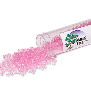 seed bead, ming tree™, glass, transparent pink, #11 round. sold per 4 x 3/4 inch vial.