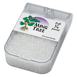 seed bead, ming tree™, glass, transparent rainbow clear, #11 round. sold per 1/4 pound pkg.