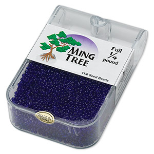 seed bead, ming tree™, glass, transparent royal blue, #11 round. sold per 1/4 pound pkg.