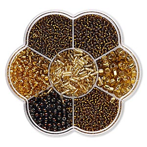seed bead mix, preciosa, czech glass, topaz brown shades, #11 to #3. sold per 132-gram box.