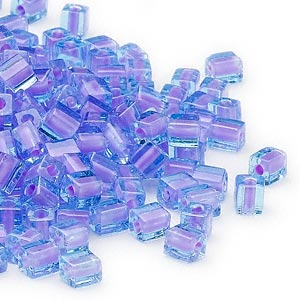 seed bead, miyuki, glass, blue color-lined violet, (sb2640), 3.5-3.7mm square. sold per 25-gram pkg.